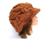 Slouchy Newsboy Hat - Cable Knit Cap - Harvest Hat - Brimmed Beanie - Chunky Hat With Brim - Women's Cap - Knit Accessories