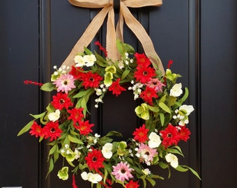Wreaths, Summer Wreath For Front Door, Daisy Wreath, Red Daisy Wreath,  Wreaths