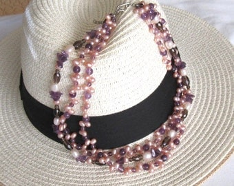 Freshwater Pearl with Amethyst and Crystal Necklace
