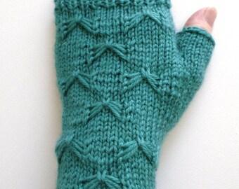 Handknit Fingerless Gloves for Women, Teen Girls, Texting Gloves, teal green gloves, butterfly stitch, merino wool gloves, decorative stitch