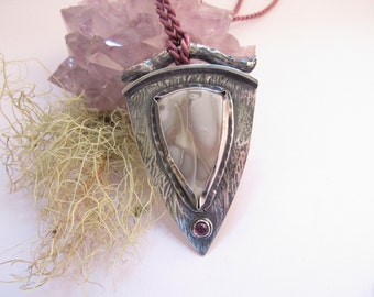 Willow Creek Jasper Ryolite Garnet and  Fine Silver Pendant Forest Greets The Sea OOAK by Leaping Frog Designs