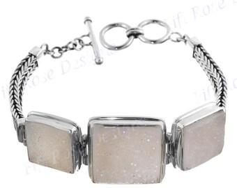 Sale! Natural Agate Druzy Drusy 925 Sterling Silver Bracelet