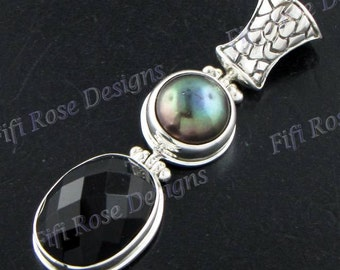 "1 3/4"" Onyx Biwa Pearl 925 Sterling Silver Pendant"