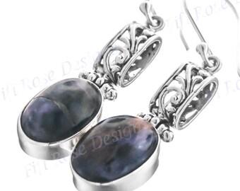 """1 1/4"""" Design Charoite 925 Sterling Silver Earrings"""