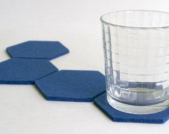 Hexagon Coasters in 5mm Merino Wool Felt Wedgewood Blue