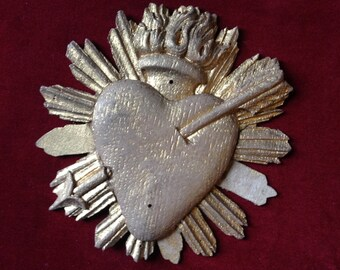 French antique wood sacred flaming heart