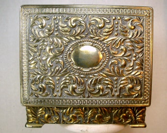 Ornate Heavy Metal Jewelry Box, JAPAN Shabby Silver Dresser Box, Room For Initials On TOP, Trinket or Smokes Box, Hinged Box, 1960s,