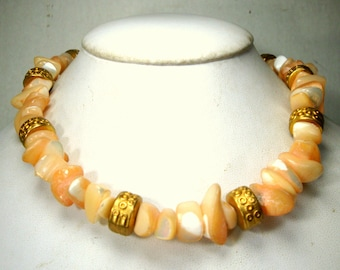 Luminous PEACH Mother of Pearl and Gold Bead Tight Choker Necklace, OOAK,  For a Mermaid, Resort, Sample