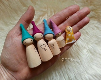 Waldorf toy - CUSTOM family of wood waldorf elf by FeeVertelaine