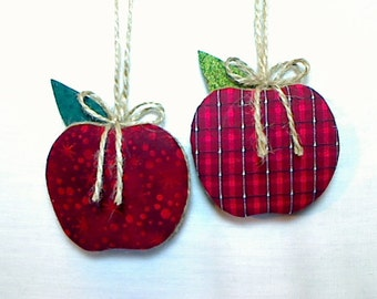 Berry Red Apple Ornaments | Home Decor | Party Favors | Teacher Gift | Holidays | Rustic Country | Autumn Fall | Set/2 | Tree Ornament | #1