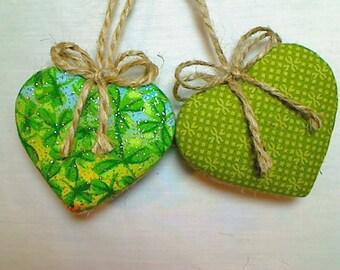 Green Heart Ornaments   Home Decor   Party Favors   Irish Decor   St Patrick's Day   Set/2   Holidays   Tree Ornament   Folk Art    #2