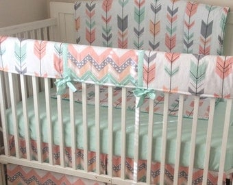 Peach Gray and Mint Arrows Crib Bedding Bumperless Set Made to Order
