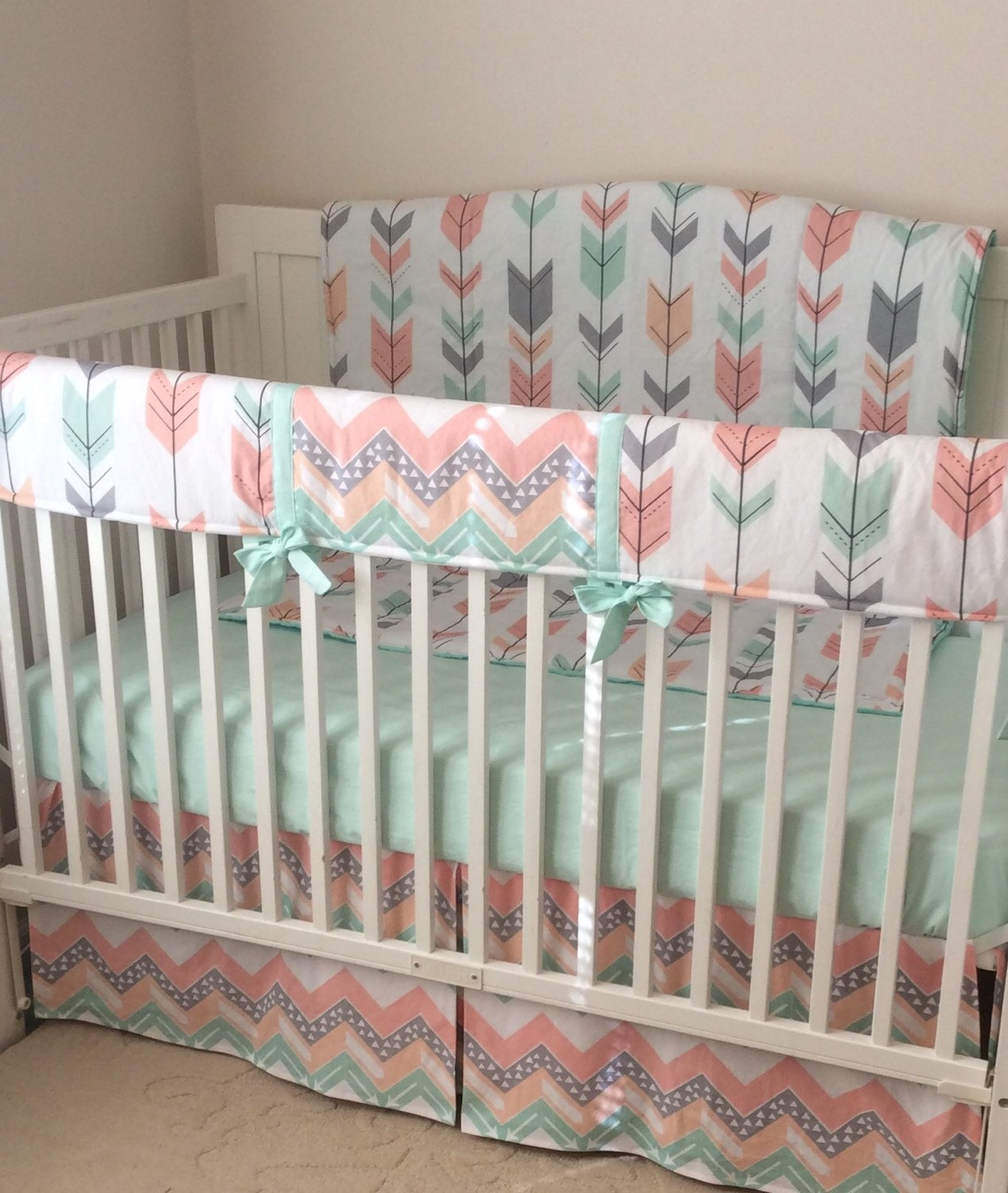 Peach Gray and Mint Arrows Crib Bedding by butterbeansboutique