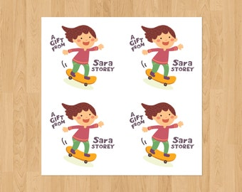 Set of 24 Personalized 2.5x2.5 inch Skateboard Girl Stickers Labels Note Cards Contact Cards Gift Tags
