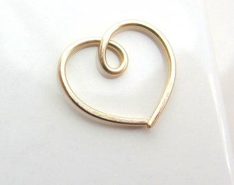 Single Gold Heart Earring Free Shipping, for Rook Helix Daith Piercing, One (1) Gold filled Heart Earring