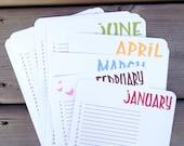 Perpetual Calendar, Wall Calendar, Birthday Planner, Organizer, Monthly Calendar, Bird - single sheets