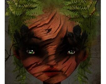 "5x7 Fine Art Print - ""Wood Nymph"" - Fantasy Art Print - Childs' Bedroom Nursery Art Print - Giclee Art Print - Green"