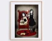 Gothic Art Print - Goth Girl Art - Wall Decor - Sisters & Secrets