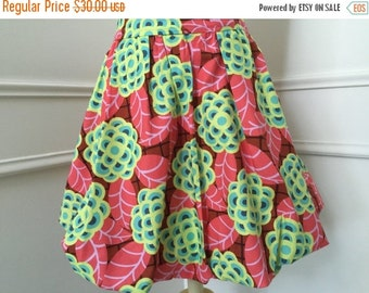 SALE Modern Bubble Skirt - Mod Green and Pink Floral - toddler girls clothing - made to order - sizes 2T 3T 4 5 6 7 8