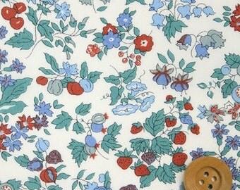 liberty tana lawn fabric - nancy ann - green, red and blue - half a metre