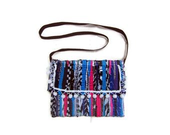 Crossbosy Pom Pom Boho Bag. Bohemian Kilim Purse. Colorful Womens Gift. Hippie Shoulder Bag. Enveloppe Boho Clutch Bag. Festival Wear