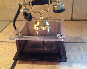 Antique Telephone It's A Small World Acrylic Music Box