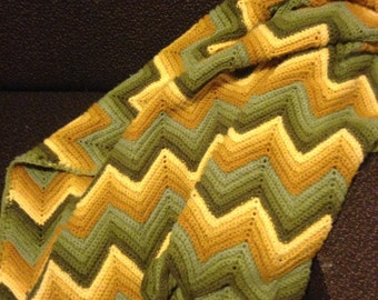 Green and Gold Ripple Stitch Crocheted Afghan