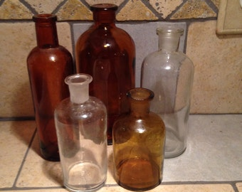 Five Antique Bottles