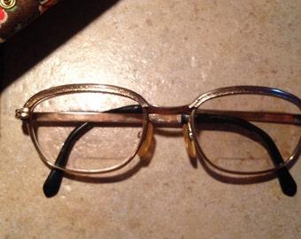 Retro 12 K Gold Glasses Frames with Original Case