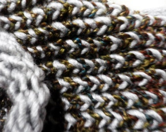 handknit Cowl neck Scarf, circle scarf, Earthy colors