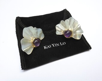 Vintage Kai Yin Lo White Mother of Pearl and Amethyst Clip on Earrings KYLO