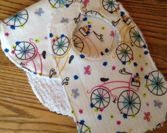 Flannel And Chenille Burp Cloth and Bib Set, Pretty Bikes, ready to ship
