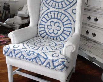 beach boho  upcycled  vintage wing chair  chalk paint
