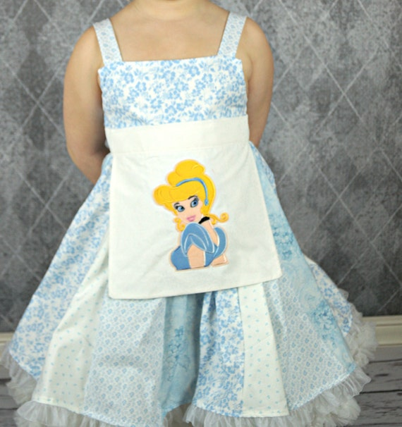 custom boutique dress made with Cinderella patch  size 7/8 ready to ship sale