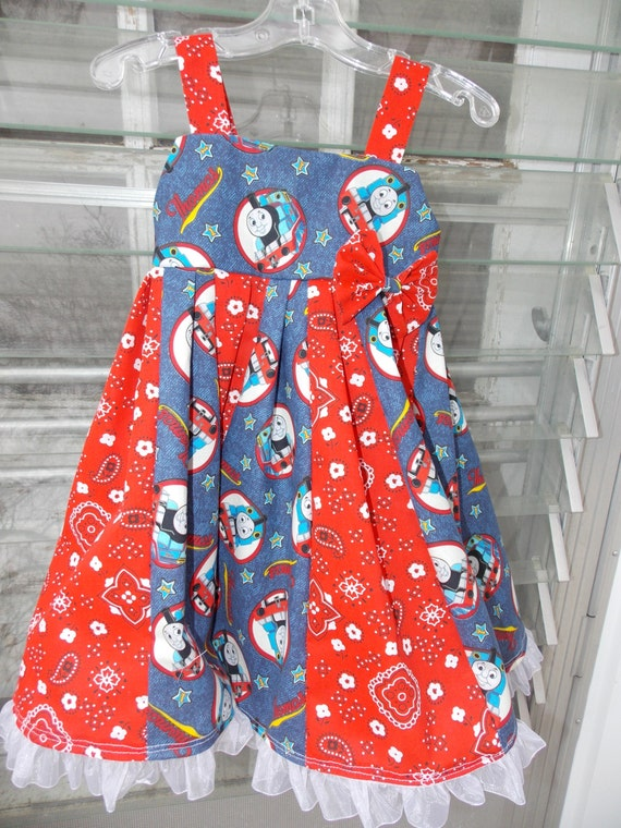 custom boutique twirl dress made with Thomas the train fabric 2-6