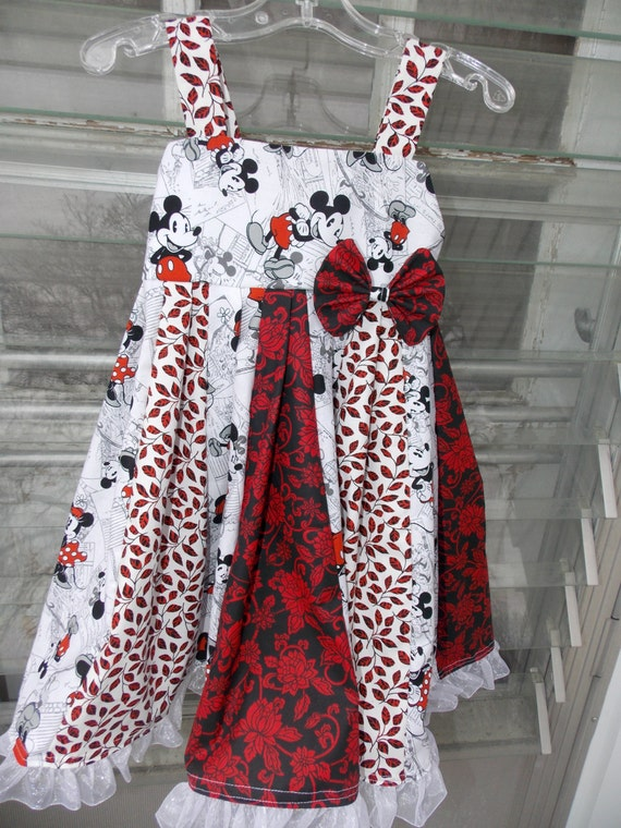 custom boutique dress made with mickey and minnie mouse  fabric size 2-6