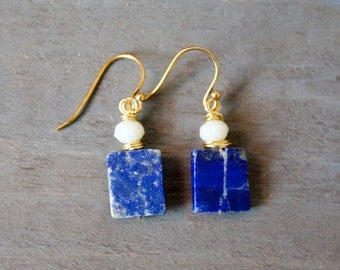Wire Wrapped Lapis and Crystal Earring
