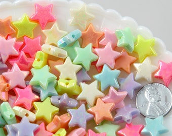 Pastel Star Beads - 14mm AB Beautiful Bright Pastel Star with Shiny Iridescent Finish Acrylic or Resin Beads - 100 pcs set