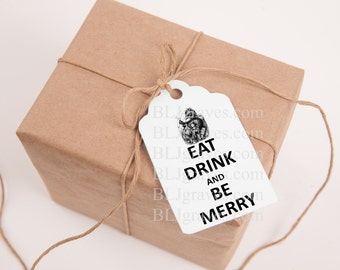 Santa Christmas Tags Vintage Style Eat Drink & Be Merry Handmade Party Favor Treat Bag Tags TC035