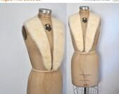 SALE Large IVORY Mink Fur Collar / vintage