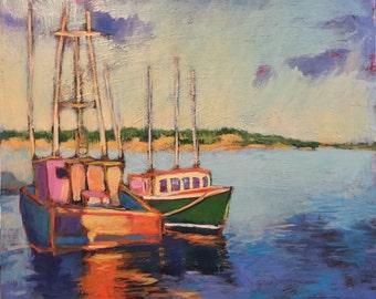 """Companions - Original Acrylic Oil Encaustic Seascape Painting- 24""""x  20"""""""
