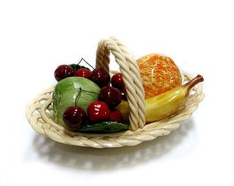 Porcelain Fruit  Basket Bassano Lattice Design Italy Vintage 1980s Ceramic