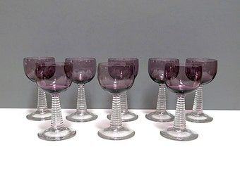 Crystal Stemware Champagne Ringmont Amethyst Pattern Bryce Brothers Set of  8 Vintage 1950s 60s Roemer Style