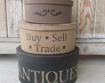 Primitive Antiques Buy Sell Trade Hand Painted Oval Set of 3 Stacking Boxes GCC6328