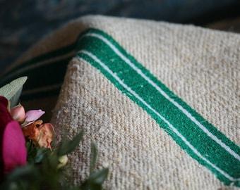 Nr. A 391: grainsack, antique linen, BRIGHT GREEN and white; pillow cushion;  upholstering; bathmath, tablerunner, christmas, thanksgiving