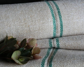 C 795 antique hemp linen roll 9.837y handloomed upholstery JADE GREEN stairrunner 17.72wide