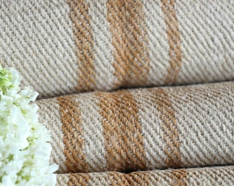 R 245 antique hemp french CARAMELL lin upholstery 4.80yards handloomed STAIRUNNER benchcushion Beachhouse look
