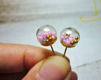 Glass Ball Stud Earrings - Pink