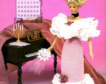 """Crochet Pattern Leaflet - Miss March 1996 - Ball Gown - Annie's Calendar Bed Doll Society - Fits 11.5"""" Fashion Doll"""