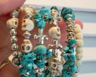 Turquoise, skull, cross and bone beads - Wrap / Coil Beaded Bracelet - Multi Strand cuff - One of a Kind bycat